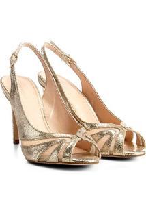 44b80246be ... Peep Toe Couro Shoestock Metalizado - Feminino