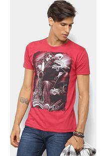 Camiseta Watkins & Krown Caveira Masculina - Masculino-Vermelho