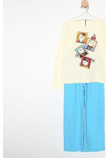Pijama Manga Longa & Calã§A- Creme & Azulsonhart