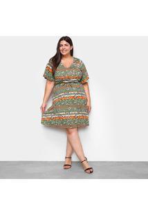 Vestido Lecimar Curto Plus Size Básico - Feminino-Verde