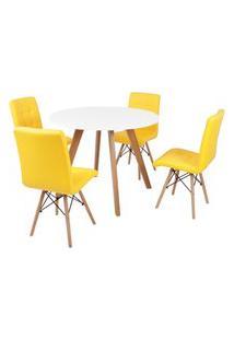 Mesa Inês 100Cm Branca + 4 Cadeiras Eiffel Gomos - Amarela