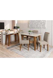 Conjunto De Mesa De Jantar Com Tampo De Vidro Jade E 4 Cadeiras Ana Veludo Linho Off White E Cinza