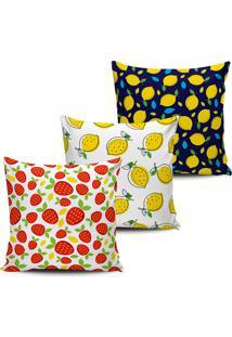 Kit 3 Capas Almofadas Decorativas Frutas Color 45X45Cm - Tricae