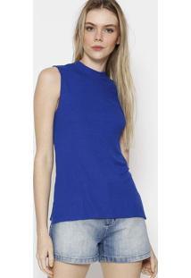 Blusa Em Tricã´ Liso - Azul Escurocalvin Klein