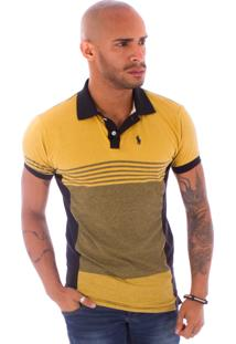 Camiseta Polo Rockstar Mostarda Preto