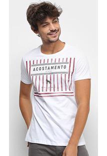 Camiseta Acostamento Mediterranean Sea Masculina - Masculino-Branco