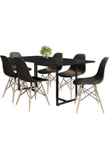 Mesa De Jantar Retangular Industrial 6 Cadeiras Eames Indy F02 Preto -