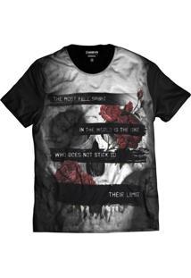 Camiseta Di Nuevo Crânio Rock Floral Morte Caveira Mexicana Preta