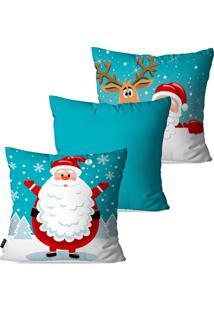 Kit Com 3 Capas Para Almofadas Pump Up Decorativas Natalinas Papai Noel Fundo Azul 45X45Cm