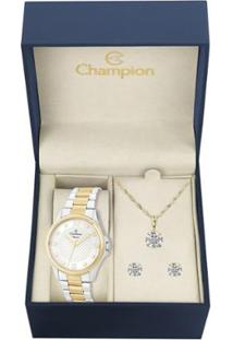 Kit Relógio Champion Elegance Feminino Cn27563C Com Colar E Brincos - Feminino-Prata