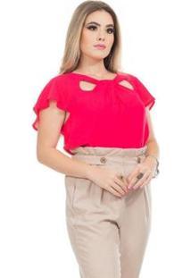 Blusa Clara Arruda Decote Detalhe 20612 Feminina - Feminino-Pink