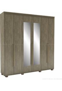 Guarda-Roupa 6 Portas 6 Gavetas Com Pés Originale 100% Mdf 230 X 227 X 53 Com Espelho Ébano - Belmax Móveis