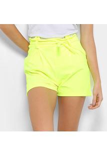 Shorts Flora Zuu Laço Neon - Feminino-Amarelo