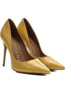 Scarpin Couro Carrano Salto Alto Clássico - Feminino-Amarelo Claro