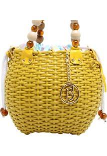 Bolsa Cestinho Com BolinhasFeminina - Feminino-Amarelo