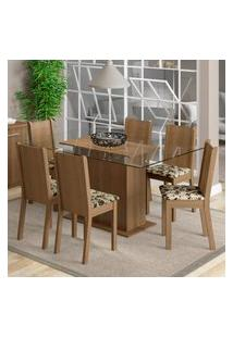 Conjunto Sala De Jantar Madesa Molly Mesa Tampo De Vidro Com 6 Cadeiras Marrom