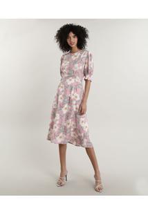 Vestido Feminino Midi Mindset Estampado Floral Com Vazado Nas Costas Manga Curta Rosa Claro