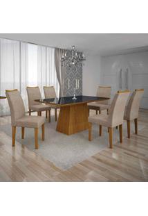 Conjunto De Mesa Com 6 Cadeiras Pampulha Iv Linho Imbuia Mel E Bege