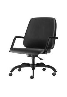 Cadeira Maxxer Diretor Assento Courino Preto Base Metalica Arcada - 54851 Preto