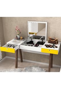 Penteadeira Escrivaninha Com 2 Gavetas Pe2002 - Tecno Mobili - Branco / Amarelo / Noce