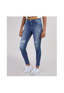 Calça Jeans Feminina Sawary Super Skinny Lipo Push Up Cintura Alta Com Rasgos Azul Médio