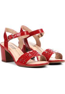 Sandália Laser Cut Dakota Salto Bloco Feminina - Feminino-Vermelho