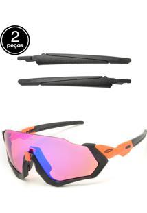 Óculos De Sol Oakley Flight Jacket Preto/Laranja