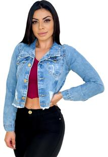 Jaqueta Jeans Curta Cropped Destroyed - Ewf Jeans - Azul Claro