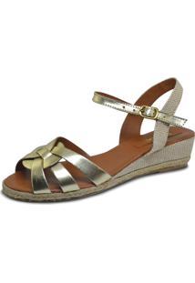Sandália Anabela S2 Shoes Tiras Dourada