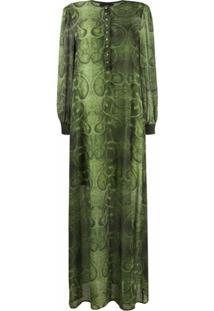 John Richmond Vestido Longo Com Estampa Pele De Cobra - Verde