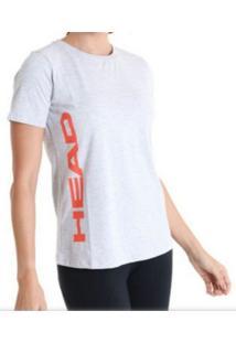 Camiseta Básica Feminina - Head - Logo Lateral Cinza - Kanui
