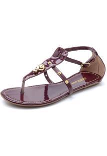 Rasteira Dafiti Shoes Tiras Vinho