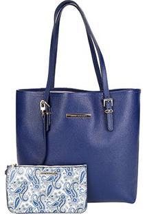 Bolsa Couro Jorge Bischoff Shopper Floter Basica - Feminino-Azul