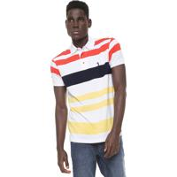 Camisa Polo Aleatory Reta Listrada Branca Laranja ed0b5f5fbe539