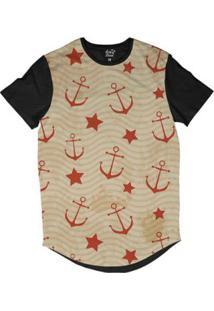 Camiseta Longline Long Beach Náutica Âncoras E Estrelas Sublimada - Masculino-Laranja
