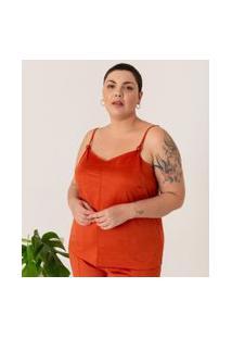 Blusa Regata Lisa Em Suede Curve & Plus Size | Ashua Curve E Plus Size | Laranja | Eg