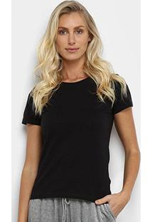 Camiseta Hering Básica Feminina - Feminino-Preto