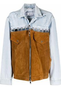 Almaz Jaqueta Jeans Com Recorte De Camurça - Azul