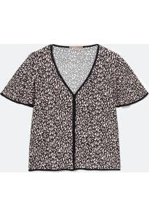 Blusa De Jersey Com Gola V E Amarração Curve E Plus Size Preto