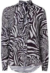 Camisa Dudalina Manga Longa Laço Estampa Zebra Feminina (Estampado Zebra, 44)