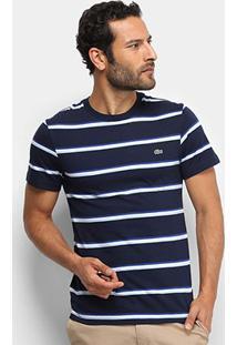 Camiseta Listrada Lacoste Masculina - Masculino-Marinho