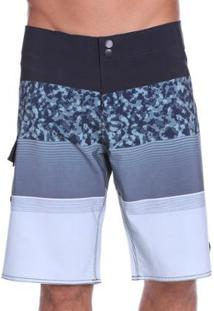Bermuda Vlcs Água Sublimada Elastano Masculina - Masculino-Azul