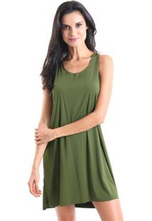 Vestido Liquido Com Alça Torcida Cores Verde Musgo P