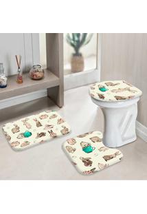 Jogo Tapetes Para Banheiro Feliz Páscoa Minimalista