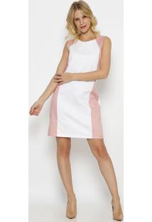 Vestido Liso Com Recorte- Branco & Rosa Clarovip Reserva