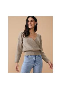 Amaro Feminino Blusa Tricot Decote Transpasse Pala Cintura, Bege Médio