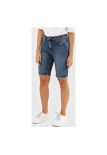Bermuda Jeans Dudalina Chino Lisa Azul-Marinho