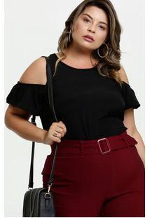 Blusa Feminina Open Shoulder Chiffon Plus Size