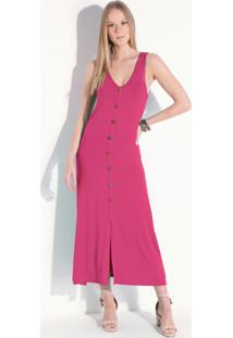 Vestido Pink Midi Sem Mangas Com Botões