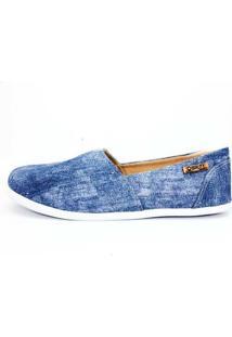 Alpargata Quality Shoes Jeans Feminina - Feminino-Azul